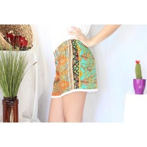 Boho Green Orange Floral Shorts Small